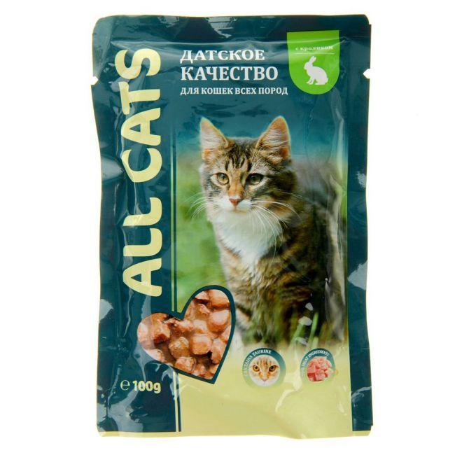 Корм ALL CATS для кошек пауч Говядина в соусе 100гр