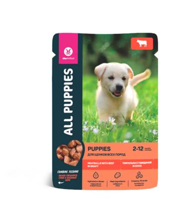 All Puppies для щенков тефтельки с говядиной в соусе, 85гр