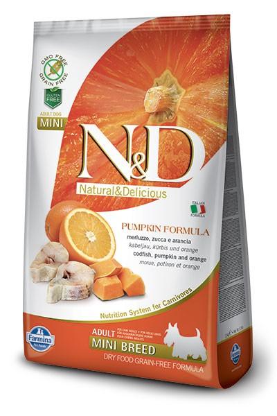 N&D Dog GF Pumpkin Codfish & Orange Adult Mini, 2,5 кг