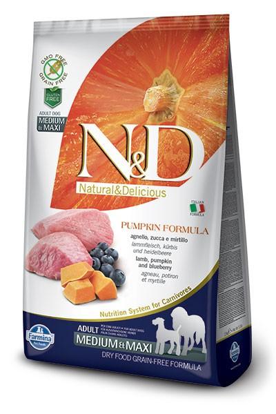 N&D Dog GF Pumpkin Lamb & Blueberry Adult Medium & Maxi, 2,5 кг
