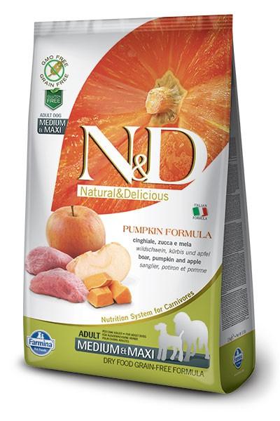 N&D Dog GF Pumpkin Boar & Apple Adult Medium & Maxi, 2,5 кг