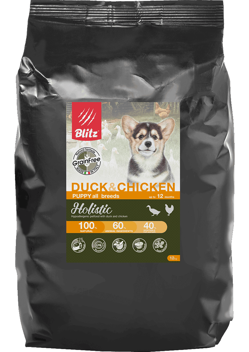 Blitz Puppies Fresh Duck & Chicken All Breeds Grain Free, 12 кг