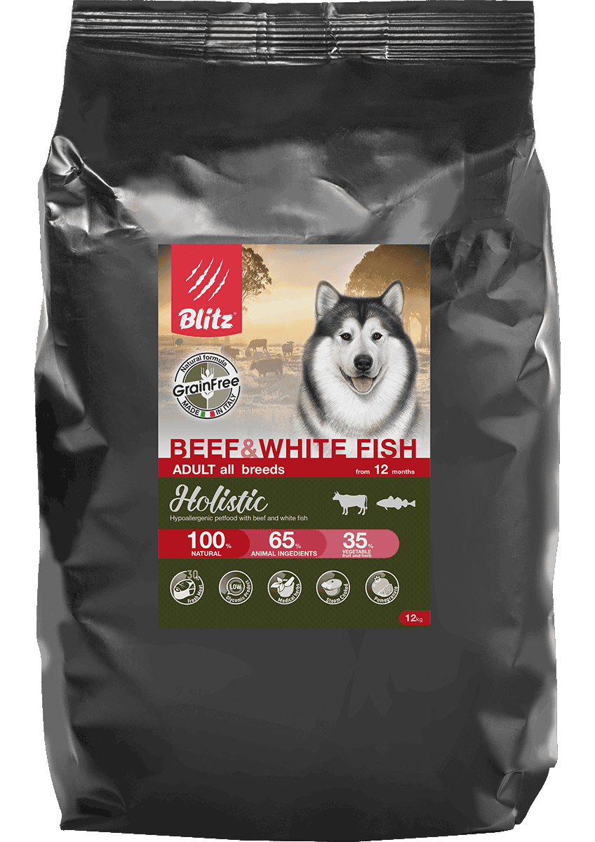 Blitz Beef & White Fish All Breeds Grain Free, 1,5 кг