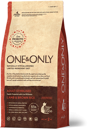 ONE&ONLY Sterilised Cat, Ягненок с рисом, 2 кг