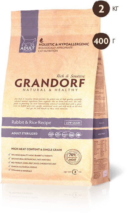 Grandorf Rabbit & Rice ADULT STERILIZED 2 кг