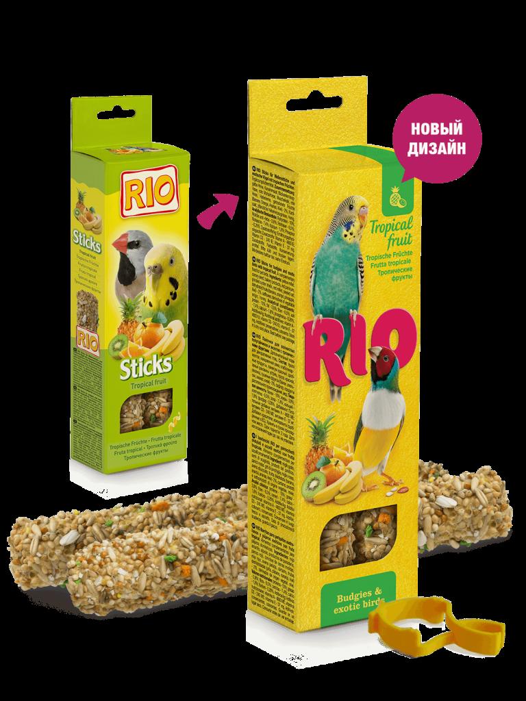 RIO. Палочки для волнистых попугайчиков и экзотов с тропическими фруктами, 2*40гр