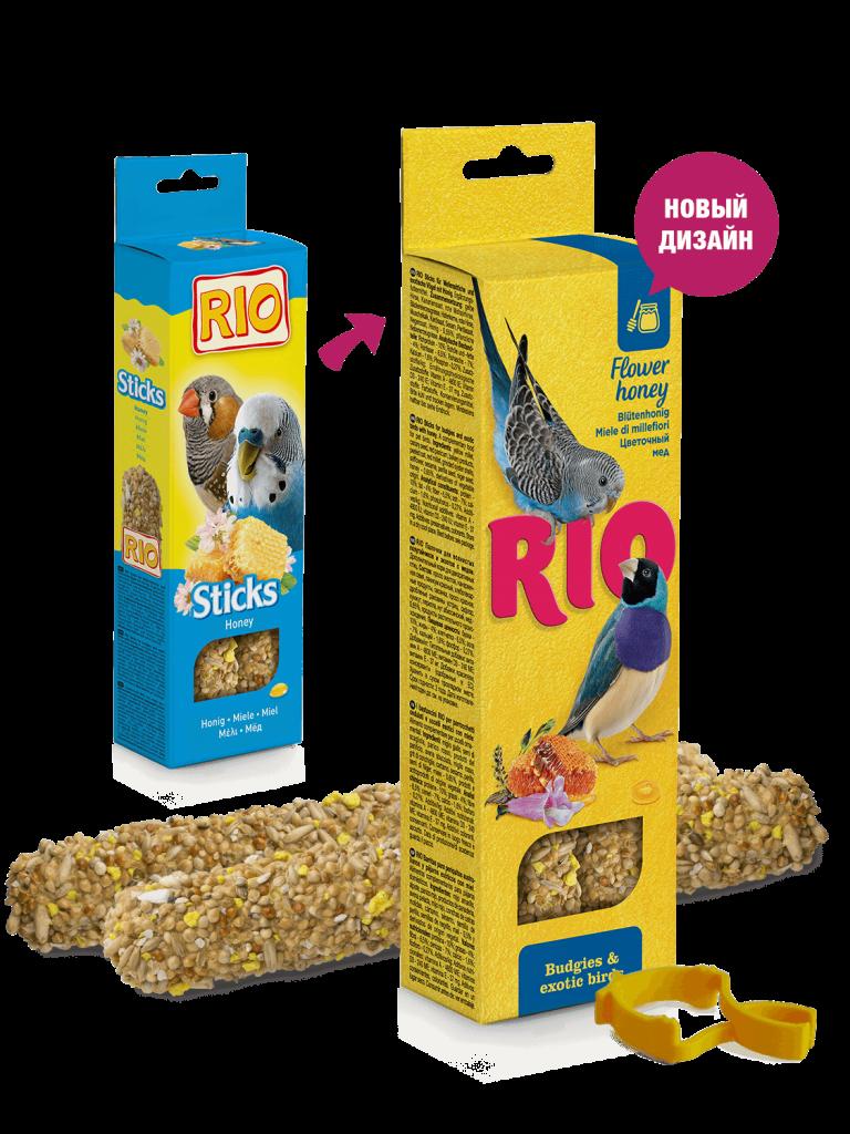 RIO. Палочки для волнистых попугайчиков и экзотов с медом, 2*40гр