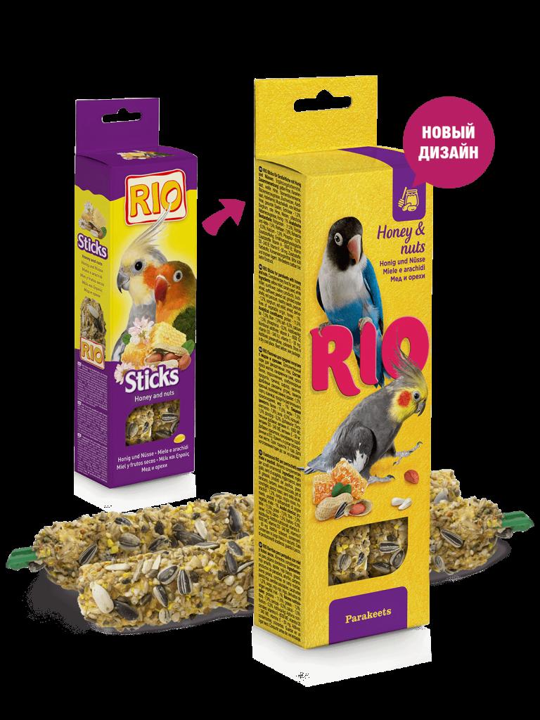 RIO. Палочки для средних попугаев с медом и орехами, 2*40гр