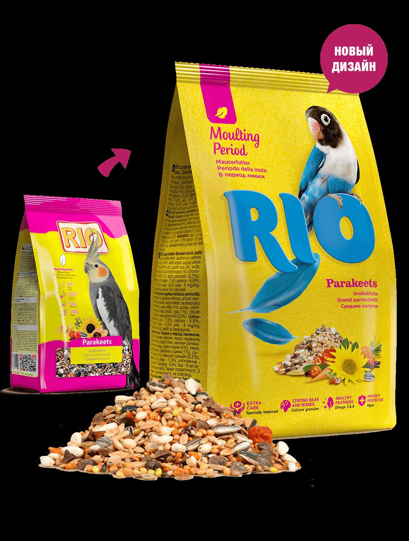 RIO. Корм для средних попугаев в период линьки, 500гр