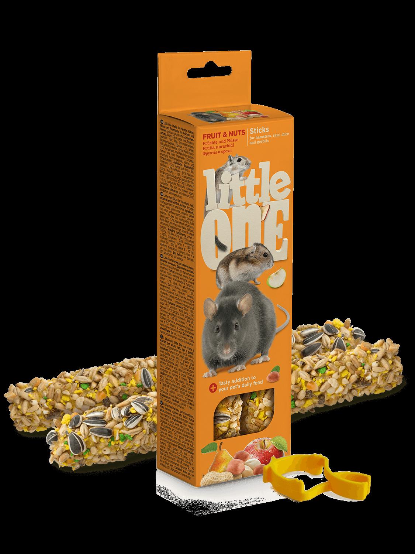 Little One. Палочки для хомяков, крыс, мышей и песчанок с фруктами и орехами, 2*60гр