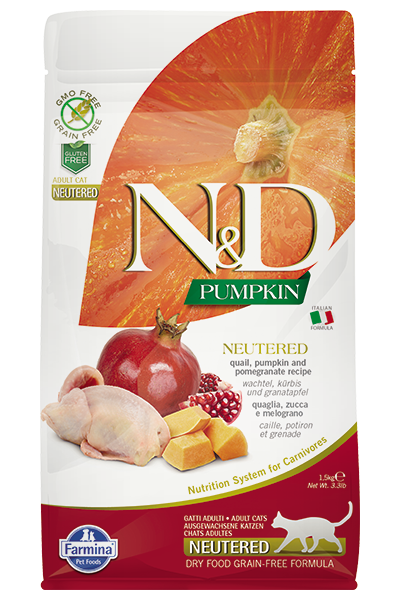 N&D Cat GF Pumpkin Neutered Quail, 1,5 кг