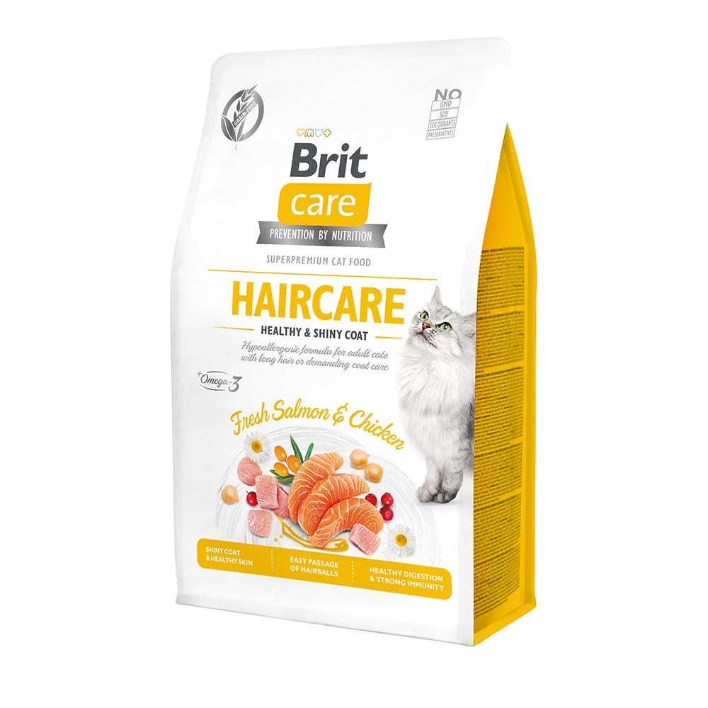 Brit Care Cat GF Haircare Healthy & Shiny Coat с лососем и курицей, 400гр