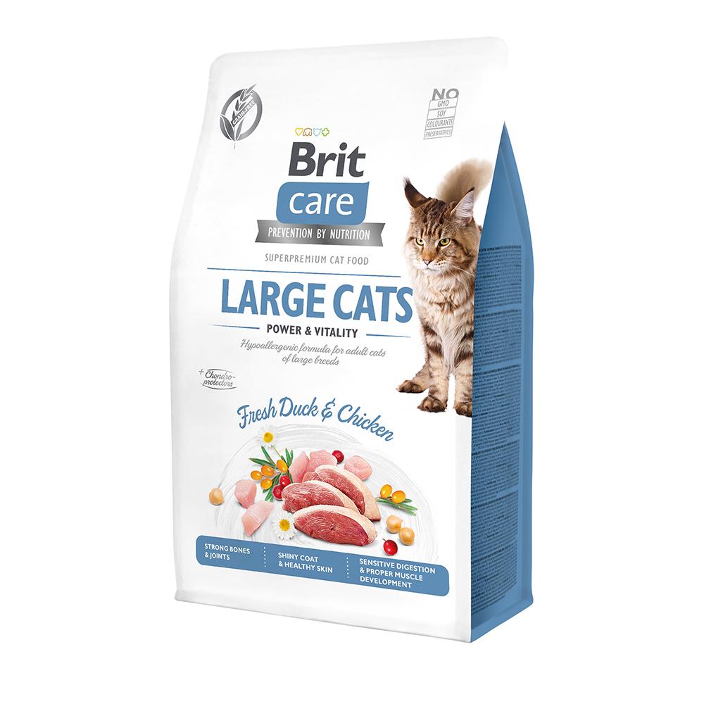 Brit Care Cat GF Large cats Power & Vitality с уткой и курицей, 2кг
