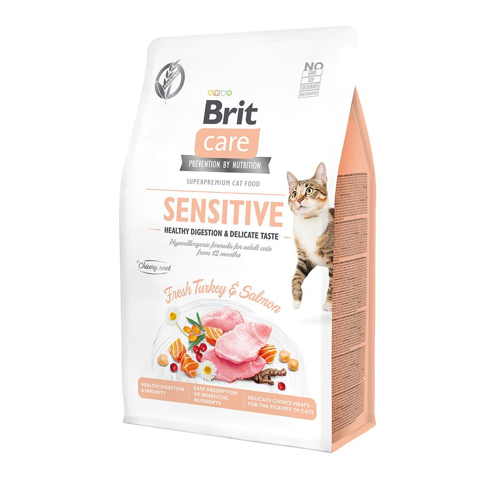 Brit Care Cat GF Sensitive Healthy Digestion & Delicate Taste с индейкой и лососем, 2кг