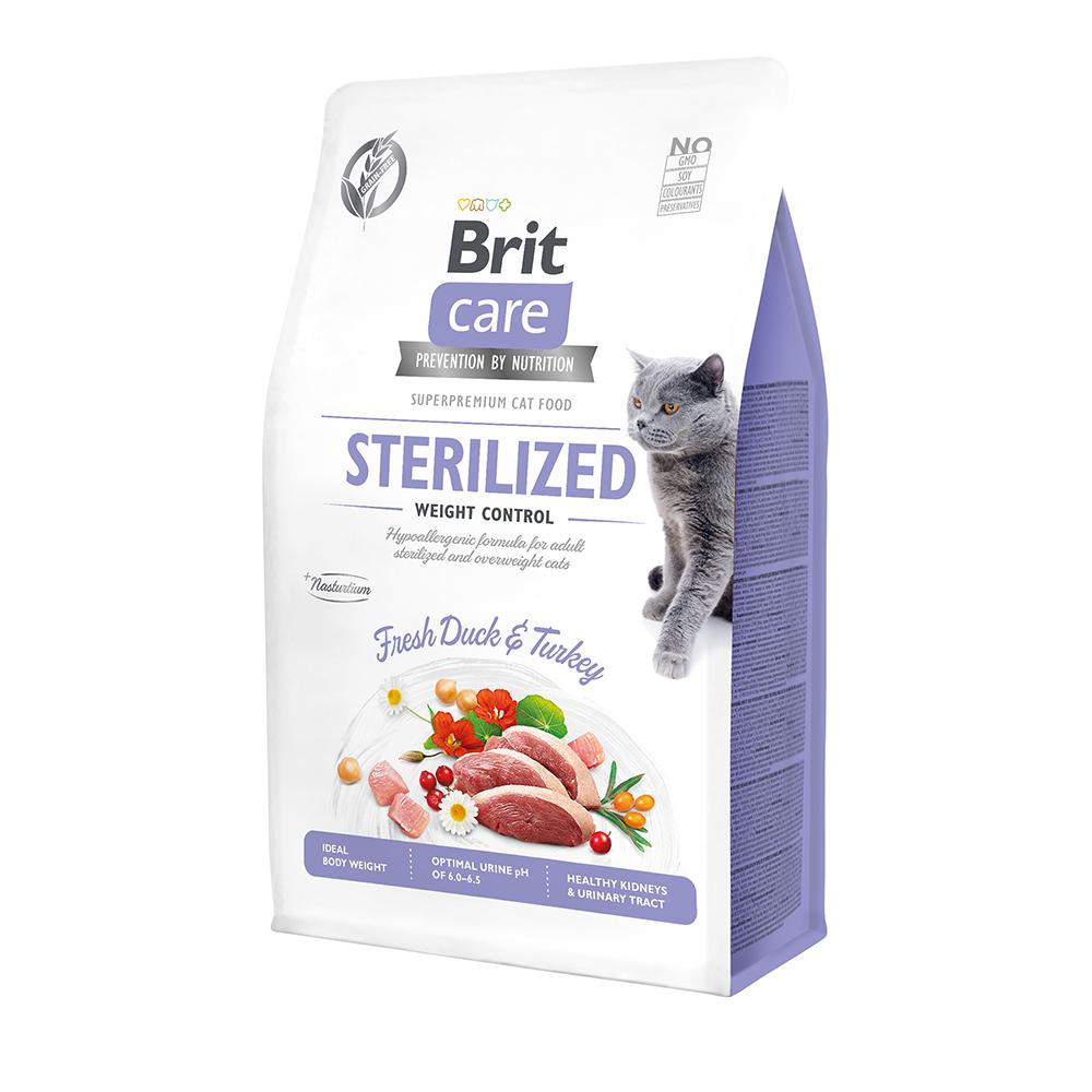 Brit Care Cat GF Sterilized Weight Control с уткой и индейкой, 2кг