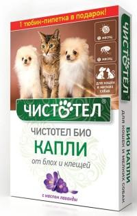 Чистотел Био капли от блох и клещей для кошек и мелких пород собак