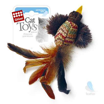 Игрушка Птичка с перьями ткань/перо (75264)