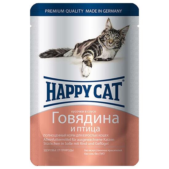 Happy Cat Говядина и Птица 85гр ПАУЧ
