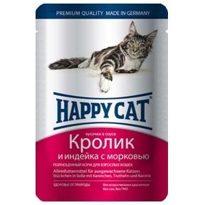 Happy Cat Кролик и Индейка с Морковью 85гр ПАУЧ