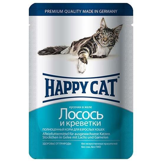 Happy Cat Лосось и Креветки 85гр ПАУЧ