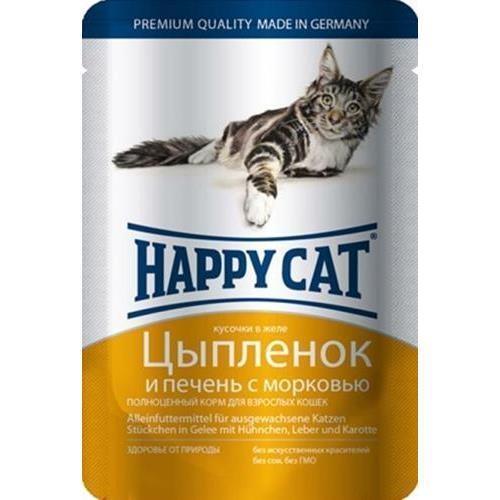 Happy Cat Цыпленок и Печень с Морковью 85гр ПАУЧ