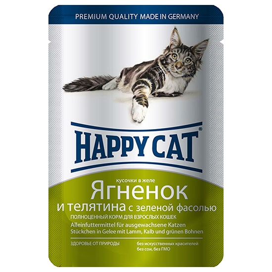 Happy Cat Ягненок и Телятина с Фасолью 85гр ПАУЧ