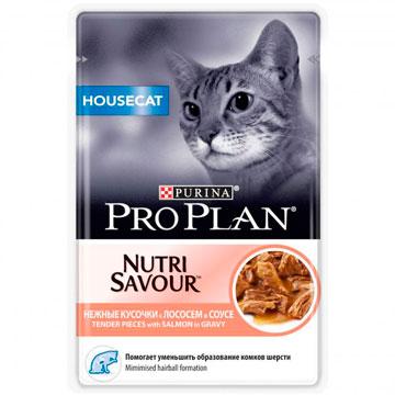 PRO PLAN® NUTRISAVOUR® HOUSECAT с лососем в соусе, 85 гр