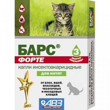 Барс Форте Капли для котят инсектоакарицидные на фипрониле (3 дозы)