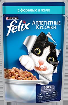 Felix® Аппетитные кусочки с форелью в желе пауч 85гр