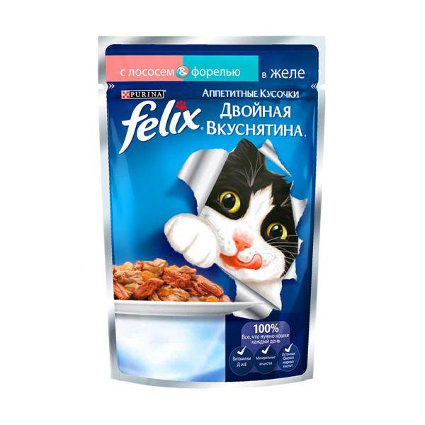 Felix® Двойная вкуснятина с лососем и фарелью в желе, 85гр