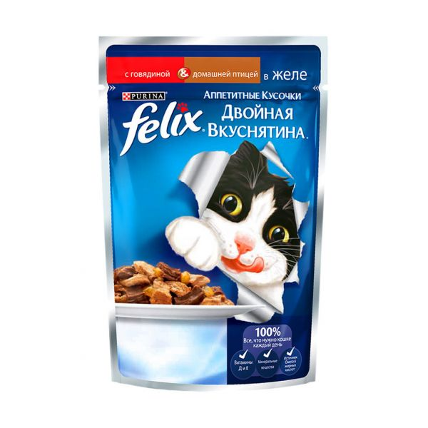 Felix® Двойная вкуснятина с говядиной и дом.птицей в желе, 85гр