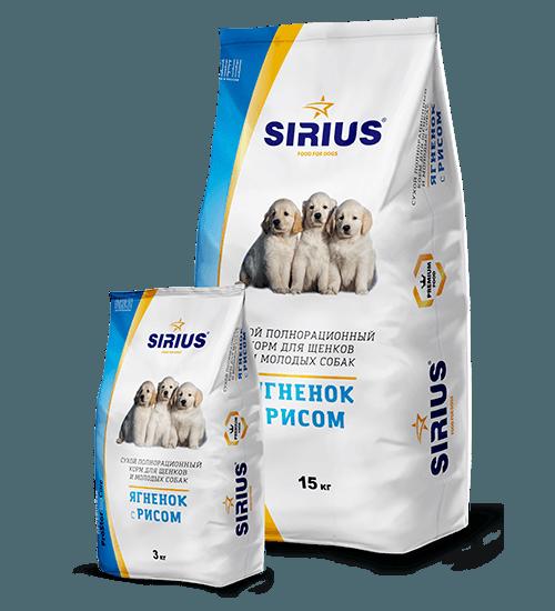 SIRIUS (Сириус) для щенков с ягненком и рисом, 15 кг