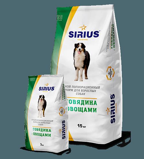 SIRIUS (Сириус) с говядиной и овощами, 15 кг