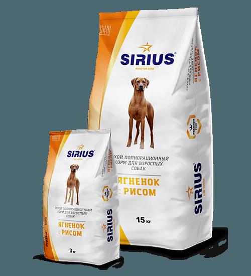 SIRIUS (Сириус) с ягненком и рисом, 15 кг