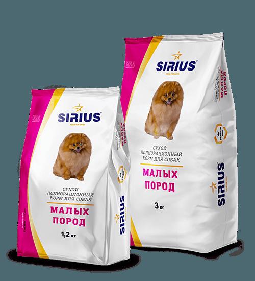 SIRIUS (Сириус) для малых пород собак с мясом индейки, 1,2 кг