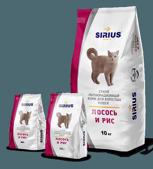 SIRIUS (Сириус) для взрослых кошек, лосось и рис, 1,5кг