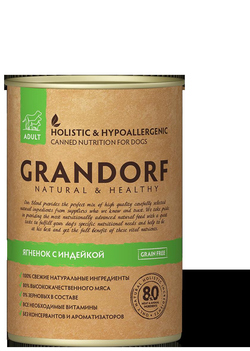 Grandorf консервы Ягненок и Индейка, 400 гр