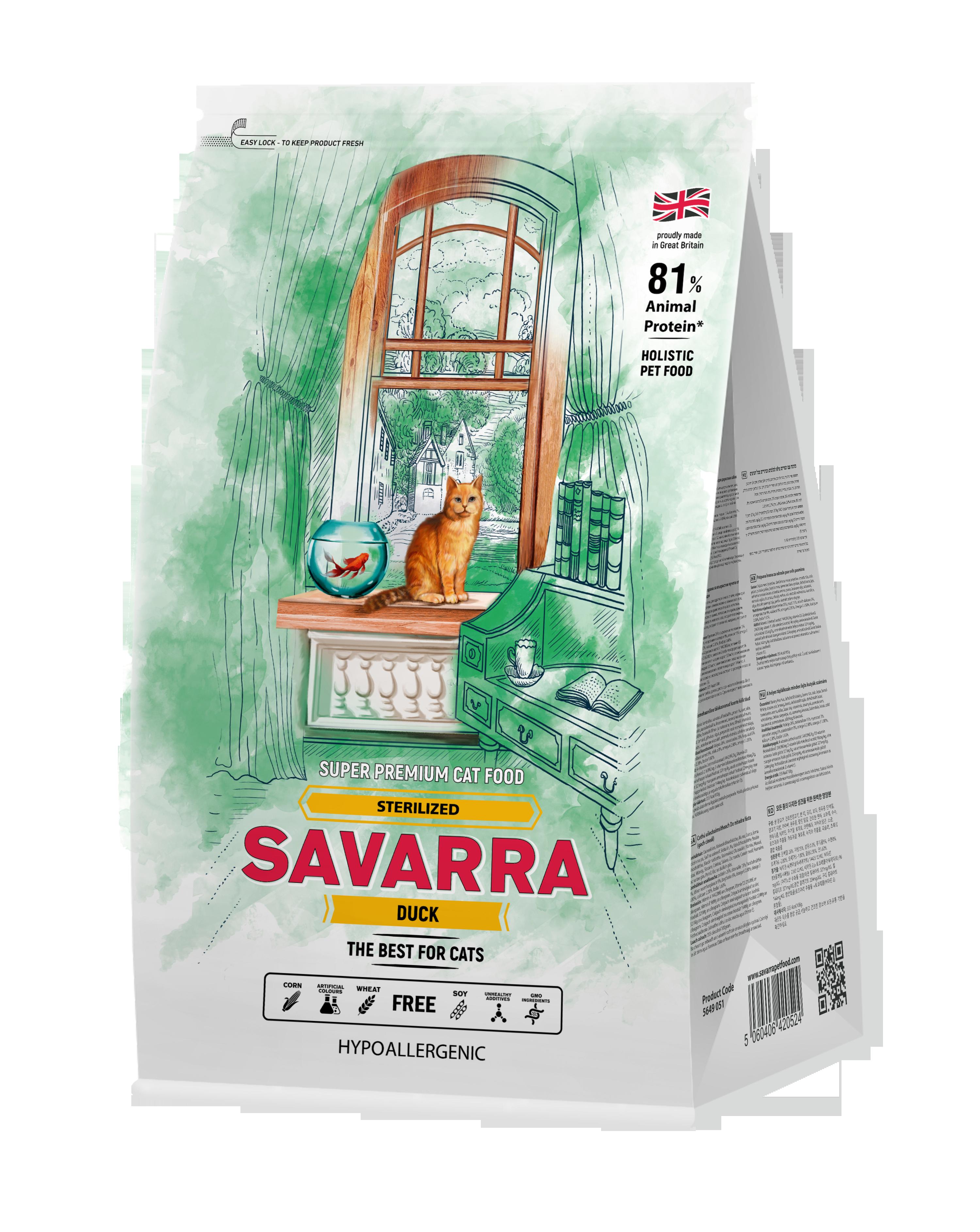 Savarra Sterilized cat с уткой 400гр