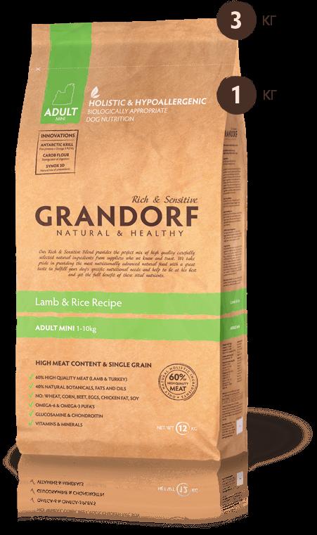 Grandorf Ягнёнок С Рисом Для Взрослых Собак Мини Пород 1 кг