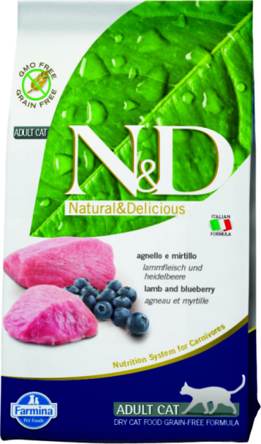 N&D Cat Lamb & Blueberry Adult 1,5 кг.