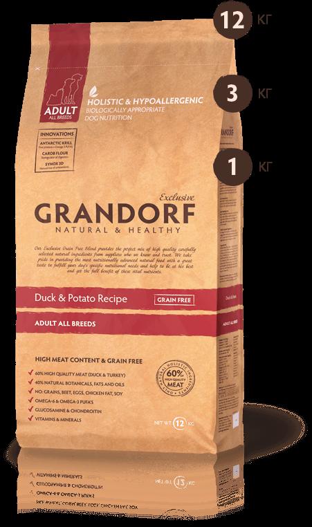 Grandorf Утка С Бататом Для Взрослых Собак Всех Пород 1 кг
