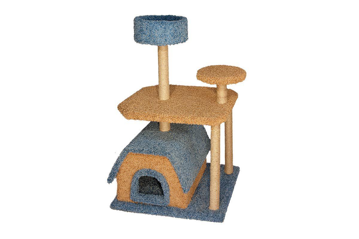 Домик-когтеточка с лежанкой ковролиновый 4-х уровневый 70*55*129см (8410)