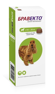 Бравекто для собак 10-20 кг, 500 мг